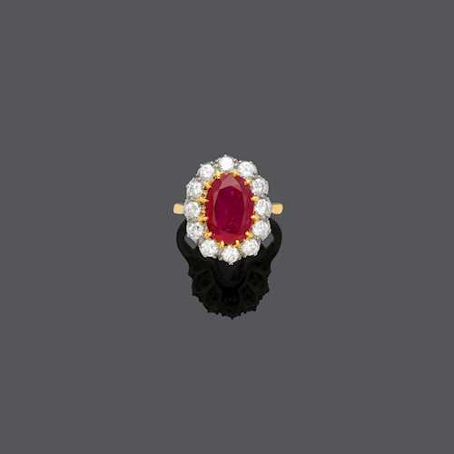 BURMA RUBY AND DIAMOND RING, ca. 1950.