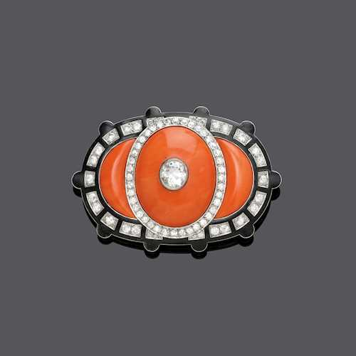 ENAMEL, CORAL AND DIAMOND BROOCH, probably BY CARTIER, ca. 1920.