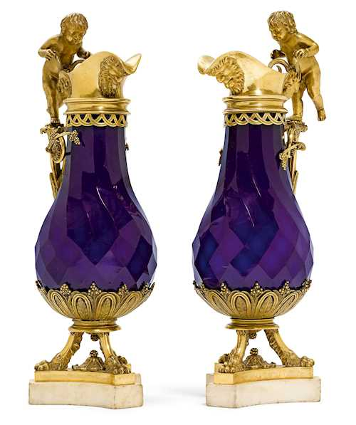 PAIR OF DECORATIVE CARAFES WITH GILT BRONZE MOUNTS,