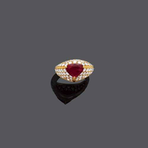 RUBY AND DIAMOND RING, BY CARTIER.