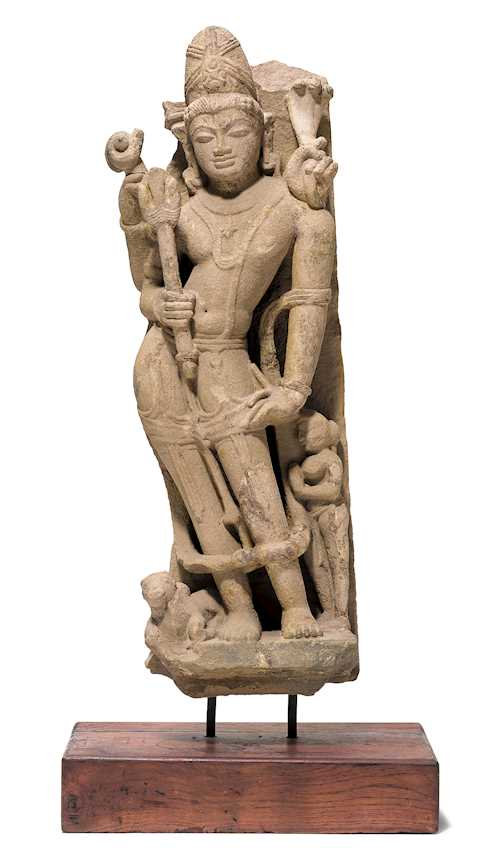 A RED SANDSTONE FIGURE OF SHIVA.