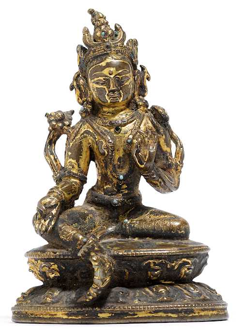 A SMALL FIGURE OF THE GREEN TARA.