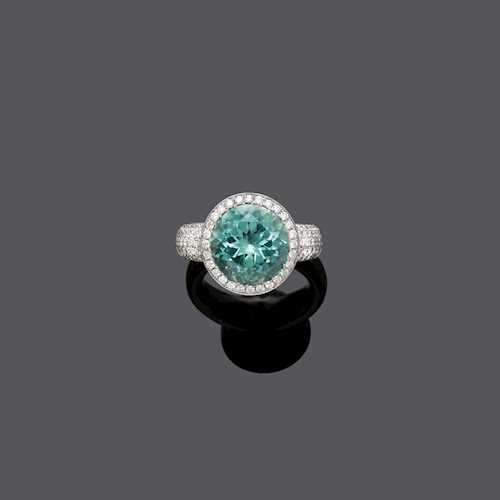 PARAIBA TOURMALINE AND DIAMOND RING, BY FRERICKS.