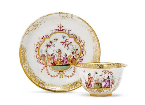"TEA BOWL AND SAUCER WITH ""HAUSMALER"" DECORATION"
