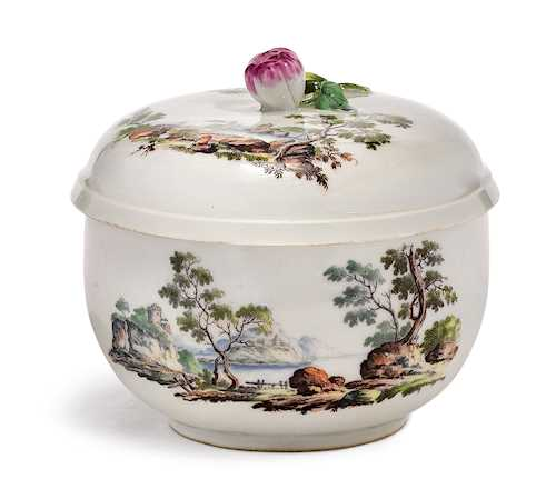 A SUGAR BOWL WITH LANDSCAPE PAINTING