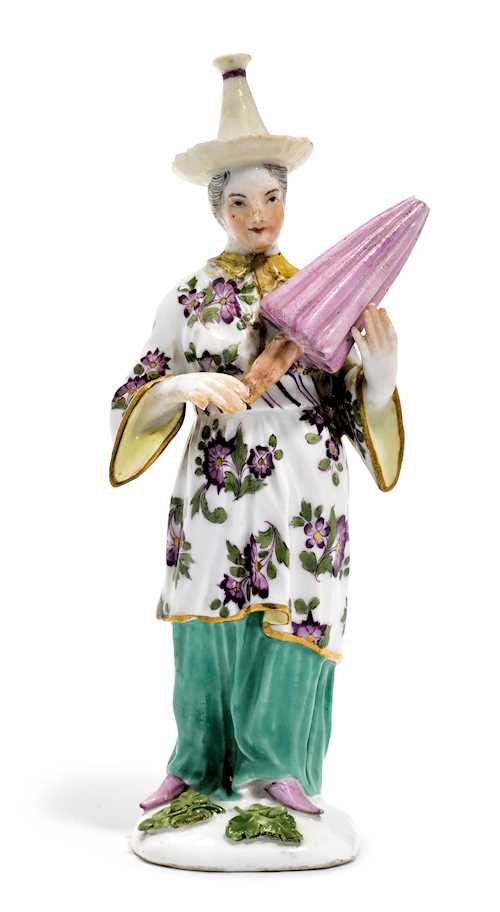 A FEMALE CHINESE FIGURE WITH PARASOL