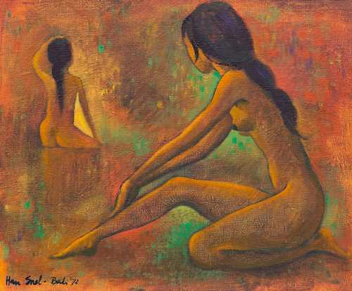 A PAINTING OF TWO YOUNG WOMEN BATHING BY HAN SNEL (1925-1998).