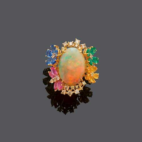 OPAL, SAPPHIRE, TSAVORITE AND DIAMOND RING.