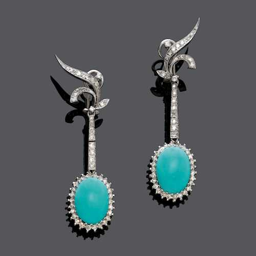 TURQUOISE AND DIAMOND EAR PENDANTS, ca. 1970.
