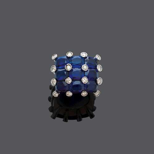 """SAPPHIRE"" AND DIAMOND RING."