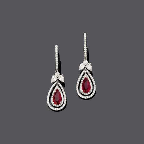 RUBY AND DIAMOND EAR PENDANTS, BY ADLER.
