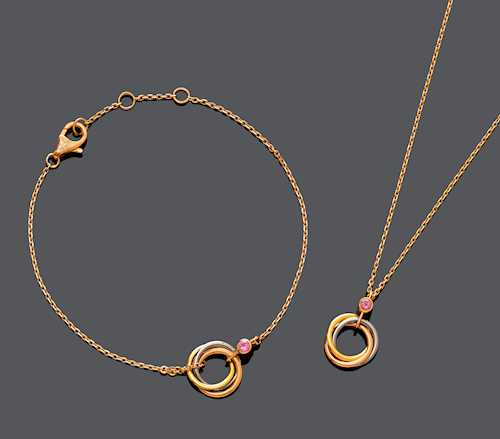 SET GOLD AND SPINEL NECKLACE AND BRACELET, BY CARTIER.