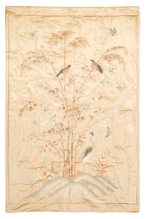 A SILK EMBROIDERED WALL HANGING.