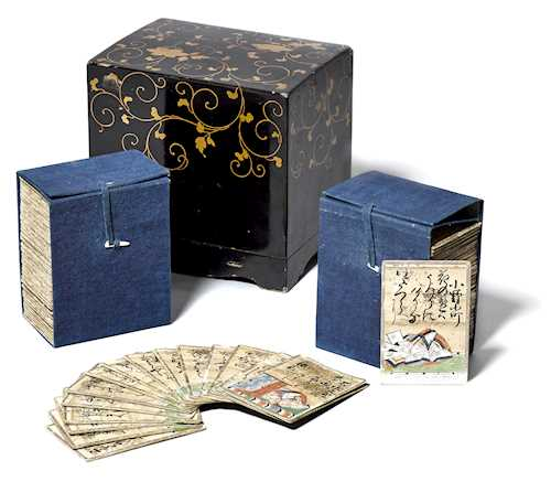 HYAKUNIN ISSHU UTAGARUTA (PLAYING CARDS) AND A LACQUER BOX.