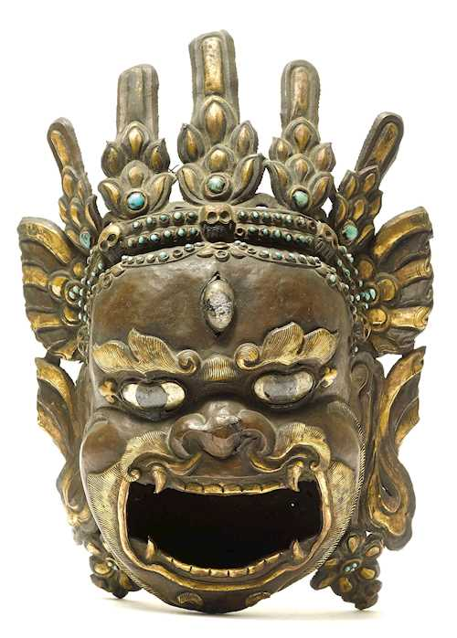 RITUAL VESSEL IN THE FORM OF A MAHAKALA HEAD.