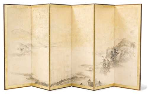 A SIX-FOLD SCREEN (BYOBU) DEPICTING A TEMPLE COMPLEX TOWERING OVER AN ATMOSPHERIC LANDSCAPE.