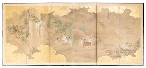 A SIX-FOLD BYOBU DEPICTING COURTIERS BY A WATERFALL.