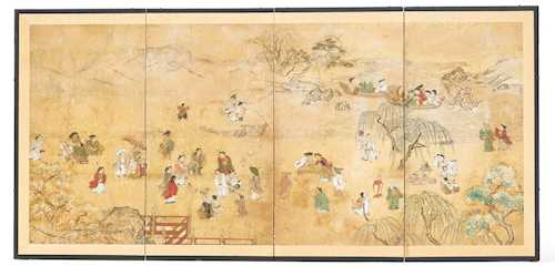 A FOUR-FOLD BYOBU DEPICTING LEISURELY ACTIVITIES AT A LAKE SHORE.