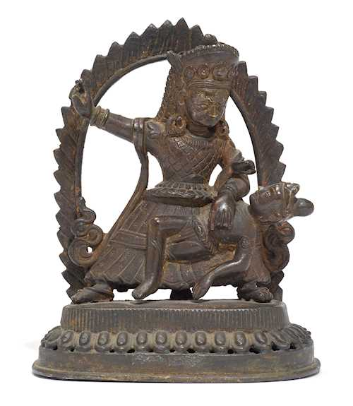 A BRONZE FIGURE OF BHAIRAVA SUBDUING HIS ENEMY.