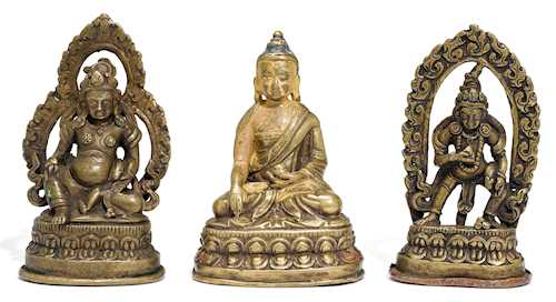 THREE MINIATURE BRONZE FIGURES.