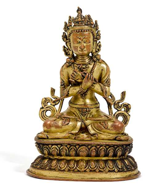 A GILT COPPER ALLOY FIGURE OF VAJRADHARA.