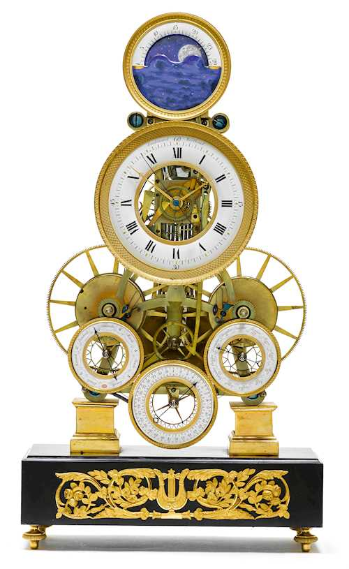 RARE AND FINE ASTRONOMICAL TABLE REGULATOR CLOCK WITH SECOND, MONTH, DAY AND MOON PHASE