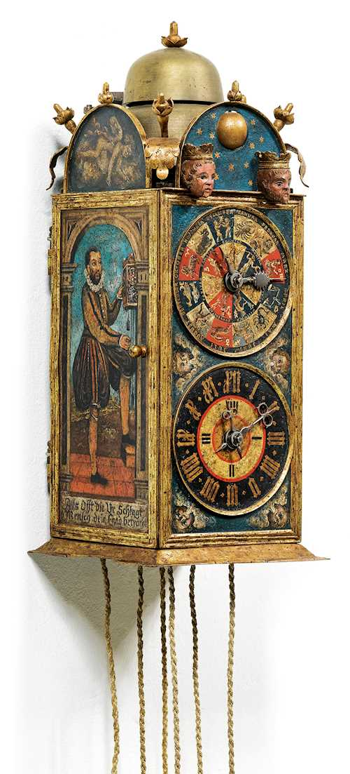 RARE PAINTED CLOCK WITH MOON PHASE AND AUTOMATED MECHANISM