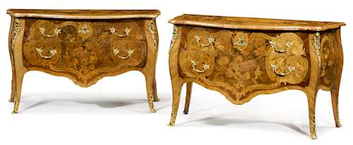 PAIR OF IMPORTANT INLAID COMMODES FROM THE WORKSHOP OF JOHANN FRIEDRICH SPINDLER