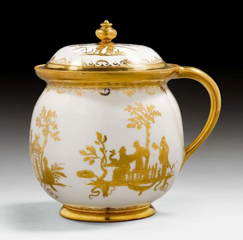 VERY RARE LIDDED POT WITH AUSGSBURG GOLD CHINESE FIGURES,Meissen, ca. 1720. Painted in the workshop of Bartholomäus Seuter. Round vessel with curved handle. Painted with gold Chinese figures and plants. The convex cover similarly painted and with a profiled finial. Remains of a lustre mark on the bottom of the pot. Minimal chipping on the bottom and on the cover. H 14.8 cm. (2) Provenance: - Probably from the collection of the Margravine Magdalene Wilhelmine von Baden-Durlach (1677-1742) - Inherited by the Margraves and Grand Dukes of Baden - Auction by the Margraves of Baden, Sotheby's, Baden-Baden, 5. 10 1995, Lot 1322. Acquired by a Swiss private collector in this auction.