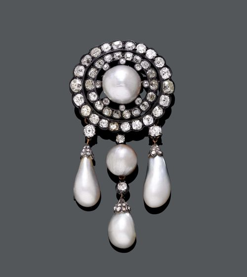 RARE NATURAL PEARL AND DIAMOND BROOCH, ca. 1880.