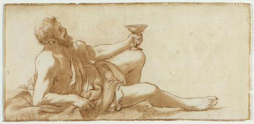 ITALIAN, 1ST HALF OF THE 18TH CENTURY Bacchus reclining with goblet. Brown pen and brush. With brown pen outer line. 9.5 x 19 cm.