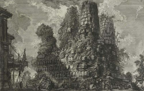 PIRANESI, GIOVANNI BATTISTA (Mogliano 1720 - 1778 Rome).Sepolcro de tre fratelli Curajz in Albano, 1756. From the suite: Le Antichita Romane. Etching on laid paper with watermark. Letter B in circle over lily in double circle. 39.5 x 60 cm. Focillon 295; Wilton-Ely 430. Framed. – Strong deep black impression with margin around the plate edge. Two small holes with old backing repair on external right hand margin in the centre outside the image. Minor foxing. Overall good condition.