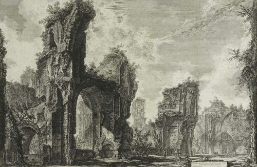 PIRANESI, GIOVANNI BATTISTA (Mogiliano 1720 - 1778 Rome).Rovine del Sisto o sia della gran sala delle Terme Antoniane. Das Frigidarium in den Thermen des Caracalla . From the suite: Veduti di Roma. Copper engraving, 42.5 x 65.5 cm. Hind 77 II (of IV). Framed. – Fine, deep impression. Cut up to the outer line and attached to backing board by the edges. Even light foxing.