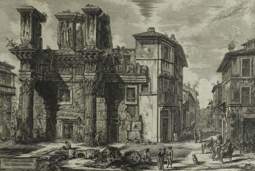 PIRANESI, GIOVANNI BATTISTA (Mogliano 1720 - 1778 Rome).Veduta degli Avanzi del Foro di Nerva, 1770. From the suite: Vedute di Roma. Copper engraving, 47.3 x 70 cm. Hind 95 I (of IV). Framed. – Very fine deep black impression. Cut up to the outer line and attached to the backing board on all sides. Foxed.
