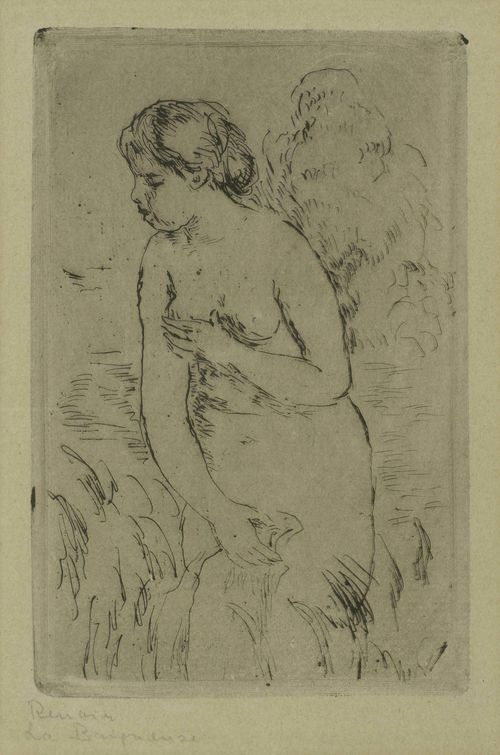 RENOIR, PIERRE-AUGUSTE (Limoges 1841 - 1919 Cagnes-sur-Mer).Baigneuse debout à mi-jambes, 1910. Etching, 17 x 11.1 cm. Delteil 23. Inscribed (signed?) in pencil below the image to the left: Renoir, La Baigneuse. Framed. – Very fine impression with plate tone. Very good condition.