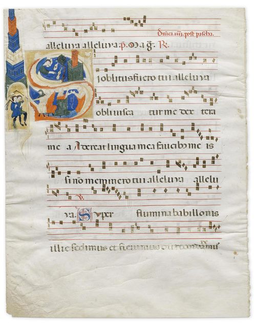 SECOND MASTER OF THE GUBBIO CHOIR BOOKS Leaf from an antiphonary with historiated initial S with the lamentation over the destruction of Jerusalem. Tempera on vellum. Gubbio, ca. 1290. 480 x 335 mm (Initial 220 x 140mm). Provenance: -1996, London, BEL. - in the current collection since 1996 Bibliography: - Sandra Hindman, Milvia Bollati, Medieval Miniatures, Catalogue BEL, 1, London 1996, p. 12. - Gaudenz Freuler, Italian Miniatures from the Twelfth to the Sixteenth Centuries, Milan 2013, pp. 604-615, illustrated on p. 610. - Friedrich G. Zeileis, Più ridon le carte (3.ed.), Rauris 2014 pp. 54-55. This historiated initial S opens the text Si oblitus fuero tui, alleluia, obliviscatur... the response to the first nocturn for the 4th Sunday after Easter. As writers elsewhere have already noted, the present leaf can be identified as an element of an important antiphonary which was dismantled during the Napoleonic period, of which eleven further leaves have been conserved in the collection of the Fondazione Giorgio Cini, and various European private collections.