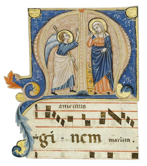 MAESTRO DELLA MATRICOLA DEI SARTI Historiated initial M from an antiphonary with the Annunciation. Vellum. Perugia, ca. 1315-20. 145 x 120 mm. Provenance: - London, Christie's June 1995. - acquired by the current owner at the above auction. Bibliography: - Friedrich G. Zeileis, Più ridon le carte (3.ed.), Rauris 2014, p. 278. Cited literature and further reading: - Alessandro Galli, in: Miklòs Boskovits (ed) Miniature a Brera 1100-1422, Milan 1997, pp. 180-185. - Marina Subbioni, La miniatura Perugina del Trecento, Perugia 2003, pp. 39 ff. This historiated initial M with its expressive interpretation of the Annunciation opens the first response to the first nocturn of the corresponding feast. In this historiated initial, the link to the Umbrian school of illumination, in particular that of Perugia, was correctly identified when it was sold at auction twenty years ago. However, a more precise attribution to a specific master is still lacking.
