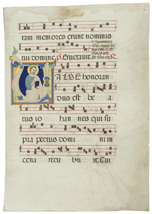 MASTER OF THE DOMINICAN EFFIGIES Leaf from an antiphonary with the initial V and the figure of John the Evangelist. Vellum. Florence, ca. 1340. 495 x 355 mm (historiated initial 115 x 115 mm). Provenance: - Castelfiorentino, Pieve dei Santi Ippolito e Biagio. - 1960, New York, Mortimer Brandt. - 1996, Paris, Les Enluminures. - thence to the current collection Bibliography: - Richard Offner, A Critical and Historical Corpus of Florentine Painting, III/VII Florence 1957, p.70. - Miklòs Boskovits, A Critical and Historical Corpus of Florentine Painting, III/IX, Florence 1984, p. 287. Les Enluminures, Cat. 5, Paris 1996, p. 18. - Friedrich G. Zeileis Più ridon le carte (3.ed.), Rauris 2014, pp. 210- 211.