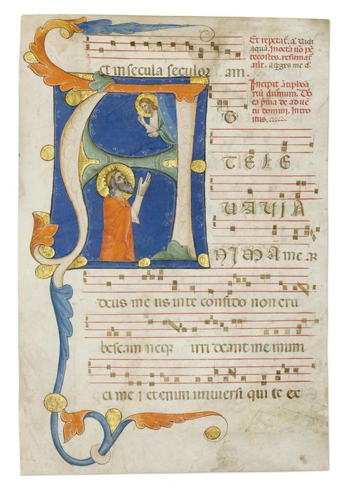 WORKSHOP OF MAESTRO DADDESCO Leaf from a gradual with a historiated initial A and a depiction of David in atonement before God. Vellum. Florence, ca. 1335-40. 404 x 270 mm (historiated initial 175 x 130 mm) Provenance: - In the current collection since ca. 1992. Bibliography: Friedrich G. Zeileis Più ridon le carte (3.ed.), Rauris 2014, p.198. This leaf with the letter A, was formerly part of the frontispiece of a gradual and opens the Introitus to the Mass of the First Sunday of Advent The Florentine authorship of this little-known leaf can be barely contested, yet its exact attribution poses certain problems. It is beyond doubt that the illuminator ranks alongside the protagonists of Florentine illumination of the 2nd quarter of the 14th century, Pacino di Bonaguida, Master of the Effigi Domenicane and the anonymous master known as Maestro Daddesco.