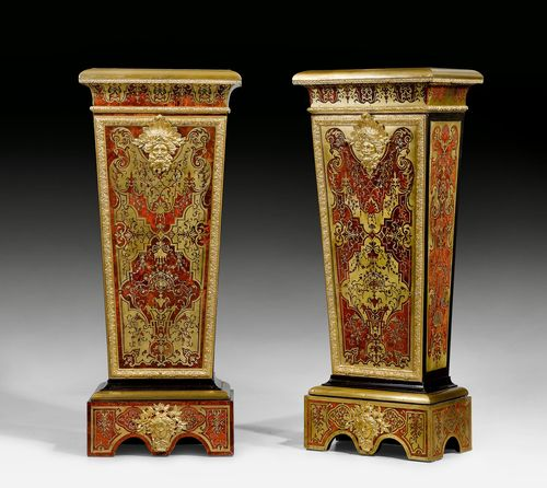 PAIR OF IMPORTANT PEDESTALS WITH BOULLE MARQUETRY,