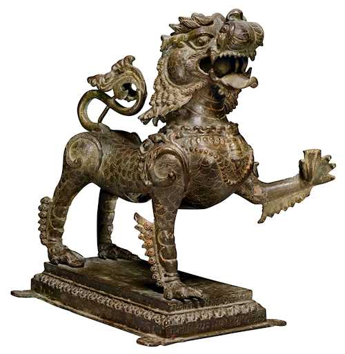 A FIERCE BRONZE LION.