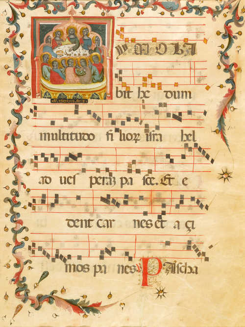 FRA JACOBUS Sheet from an antiphonary with a depiction of the Last Supper accompanying the text: Imolabit hedum... 2. Responsorium of the Corpus-Domini-festival. Veneto, ca.1390, vellum. 55.7 x 38.9 cm. Initial ca. 13 x 12.5 cm. 6 Tetragrams. Genuine gold frame. Provenance: New York, collection Robert Lehman (until 2004) Hamburg, collection Jörn Günther (2004) Swiss private collection(since 2005) Bibliography: Seymour De Ricci (assisted by William J. Wilson); Census of Medieval and Renaissance Manuscripts in the United States and Canada, New York 1927, p. 1709 No A.37 Pia Palladino, Treasures of a lost Art. Italian manuscript Painting of the Middle Ages and Renaissance, New Haven/London 2003, p. 32