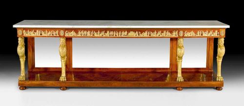 "IMPORTANT MAHOGANY CONSOLE ""A LA TETE D'HERCULE"",Empire, after designs by C. PERCIER (Charles Percier 1764-1838) and P.F. FONTAINE (Pierre François Fontaine, 1762-1853), attributed to F.H.G. JACOB-DESMALTER (François Honoré Georges Jacob-Desmalter, 1770-1841), Paris circa 1810. With a ""Carrara"" top above 4 chimaera supports with the head of Hercules. Four drawers at the front. Decorated with exceptionally rich matte and polished gilt bronze mounts and applications. 300x60x93 cm. Provenance: - According to an invoice, formerly in the collection of the Duchesse de Valençay. - Galerie Aveline, Paris. - from a European private collection."