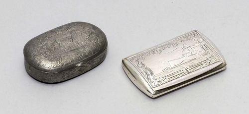 LOT OF 2 PILL BOXES, different shapes, origins and materials. One oval tin box. L ca. 6 cm. One silver box with hinged cover. Ca. 6.5 x 4 cm, 37 g.