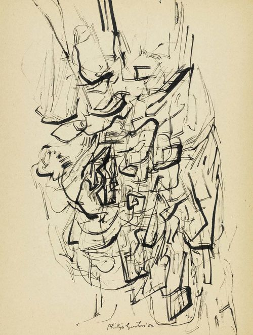 GUSTON, PHILIP (Montreal 1913 - 1980 Woodstock, NY) Untitled. 1954. Pen and India ink on cardboard. Signed and dated centre bottom: Philip Guston '54. 36 x 27 cm. Provenance: - Private collection San Francisco.