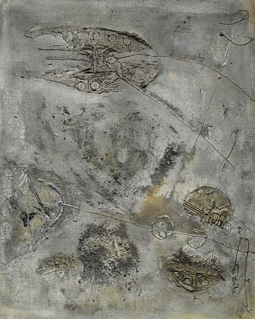 TUMARKIN, IGAEL (Dresden 1933 - lives and works in Berlin) Composition in grey. 1959. Mixed media on canvas. Verso signed and dated: Tumarkin 59. 100 x 81 cm.