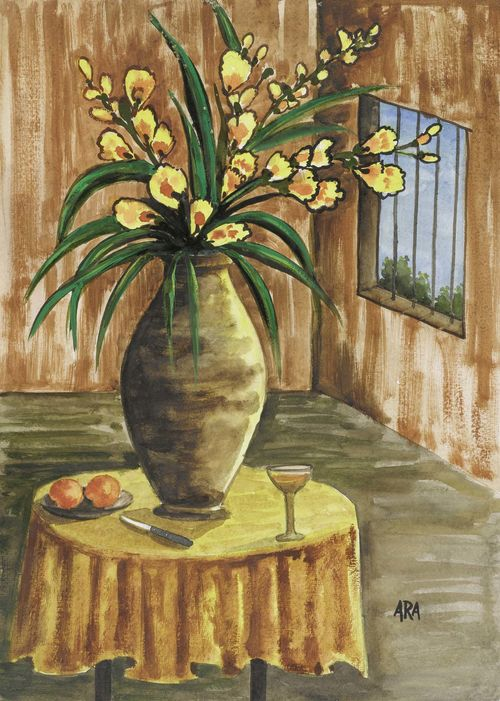 ARA, KRISHNA HAWLAJI (1914 India 1985) Still life with flowers. Watercolour on paper. Signed lower right: ARA. 56 x 39 cm.