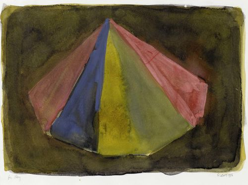 LEWITT, SOL (Hartford 1928 - 2007 New York) Pyramid. 1986. Watercolour and gouache on paper. Signed and dated lower right: S. LEWITT 1986. Dedication lower left: for Roy. 25 x 35.5 cm. Authenticity confirmed by the Sol Lewitt Estate. Provenance: - collection of Roy Colmer, Long Beach, USA.