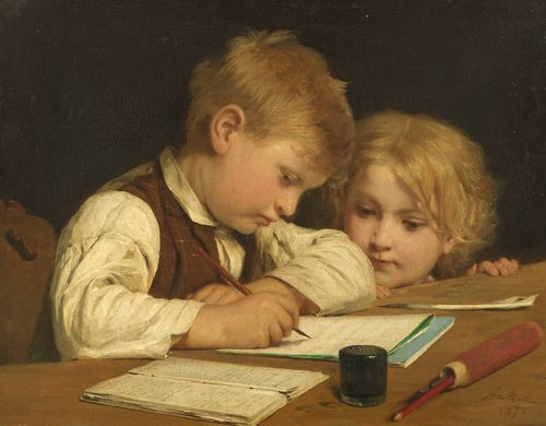 ANKER, ALBERT (1831 Ins 1910) Young boy writing with his little sister I. 1875. Oil on canvas. Signed and dated lower right: Anker 1875. 45 x 58 cm. Provenance: - Wallis collection, London, 1875. - Private collection, Deisswil, 1962. - Private collection Switzerland. Exhibited: Ins 1967, Albert Anker, No. 25 (with ill.). Literature: - Huggler, Max: Albert Anker, Katalog der Gemälde und Ölstudien, Bern 1962, No. 105. - Kuthy, Sandor / Bhattacharya-Stettler, Therese: Albert Anker. Werkkatalog der Gemälde und Ölstudien. Bern 1995, p. 131, No. 209.