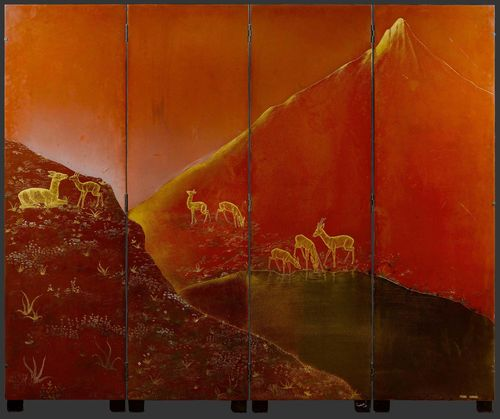 PIERRE DUNAND (1914 - 1996) FOUR-PART SCREEN, circa 1940 Wood and relief-carved lacquer. Decorated with deer in a landscape. Signed Pierre Dunand. 165x200 cm.